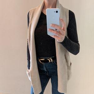 Cloth. Cardigan cream open knit vest top